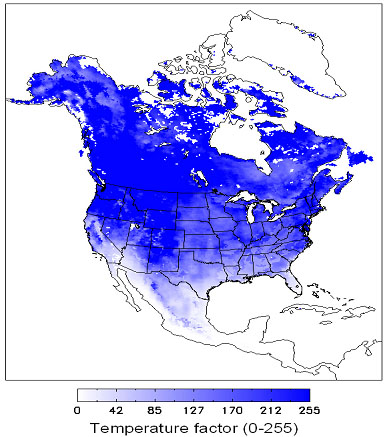 Relative impact of the low temperature on vegetation